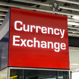 Currency Exchange. A sign indicating that currency can be exchanged Stock Photo