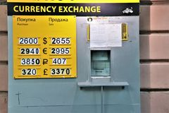 Currency exchange signboard, with the purchase and sale change in Ukrainian Grivna. royalty free stock photography