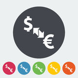 Currency exchange. Single flat icon on the circle. Vector illustration Stock Images
