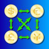 Currency exchange symbols, dollar, pound, Euro and yen signs. Vector Illustration vector illustration