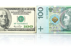 Currency exchange. With US dollar and Polish zloty Royalty Free Stock Image