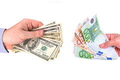 Currency exchange. From US dollar to euro Royalty Free Stock Photography