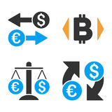 Currency Exchange Vector Icon Set. Style is bicolor flat symbols Royalty Free Stock Photos