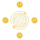 Currency exchange. Vector illustration international currency exchange concept dollar, pound, yen and euro coins. Cash and money, wealth, payment symbol Stock Images