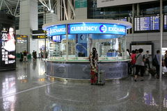 Currency exchange. Windows in the Shanghai Airport in China Stock Photography