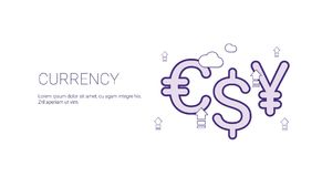 Currency Finance And Money Concept Template Web Banner With Copy Space. Vector Illustration Stock Images