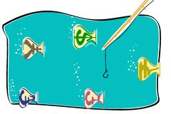 Currency Fish. Illustration of fish shap currency swimming in water Stock Photos