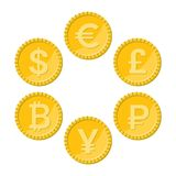 Currency flat icon set, golden vector coins. Currency flat icon set. Euro, dollar, bitcoin, yuan, ruble and pound sterling golden vector coins Royalty Free Stock Photo
