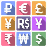 Currency flat icons with long shadow Stock Image