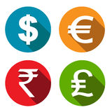Currency flat icons set. Business finance vector Illustration Royalty Free Stock Image