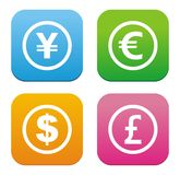 Currency flat style icon Stock Photos