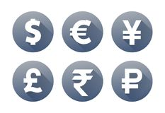 Currency gray icons with shadow dollar euro pound yen yuan rupee ruble. Currency flat vector symbol set. Icons with images of currencies different countries Royalty Free Stock Photography