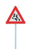 Currency fluctuation dollar euro slippery road Royalty Free Stock Photo