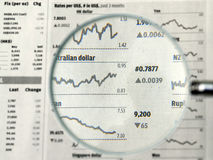 Currency in focus. Currency exchange rates in the business section of a newspaper, focused under a magnifying glass stock photos
