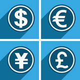 Currency. Four currency unit on blue color background Stock Photography