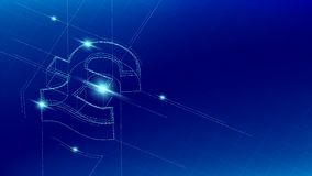 Currency GBP Pound Sterling isometric symbol particle line lighting pattern wireframe futuristic, Digital money cryptocurrency. Concept illustration isolated on royalty free illustration