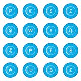 Currency gold coin icon blue Royalty Free Stock Photo