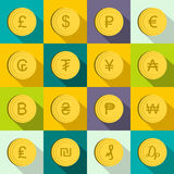 Currency gold coin icons set, flat style Royalty Free Stock Image