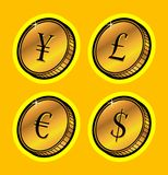 Currency golden coins Stock Photo