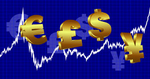 Currency Graph Money. Stock Market Graph with currency symbols on a blue background Stock Photos