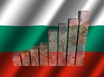 Currency graph on rippled Bulgarian flag illustration. Currency graph on rippled Bulgarian flag 3d illustration Stock Photos