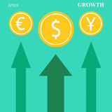 Currency growth arrows Royalty Free Stock Image
