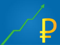 Currency Growth Russian Ruble Stock Images