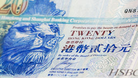 Currency in Hong Kong, 20 dollars. With chinese words Royalty Free Stock Images
