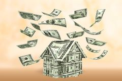 Currency House. Real Estate Dollar Sign Dollar Falling Pennies from Heaven Wealth Stock Photo