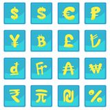 Currency icon blue app Royalty Free Stock Photos