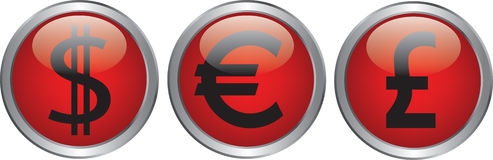 Currency icon. On circle glossy red button Royalty Free Stock Photography