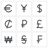 Currency icon collection. Currency icon set on a white background Stock Image