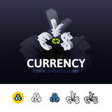Currency icon in different style Stock Photography