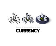 Currency icon in different style Stock Photos