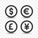 Currency icon set. Currency icon set dollar,euro,pound sterling and yen on transparent background Royalty Free Stock Photo