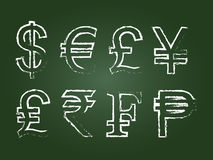 Currency Icon Set. On Green Chalkboard Stock Photos