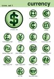 Currency icons. Vector illustration of international currency icons Stock Photos
