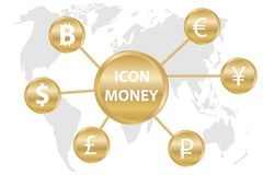 Currency icons on the background of the world map. Currency icons on a gold background. The world currency. Flat design, vector illustration, vector Stock Photos