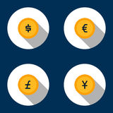 Currency icons. Flat design cyrrency icons set Stock Photography