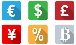 Currency icons flat design. Set of 6 flat design icon of currency on rectangle button Royalty Free Stock Photography