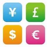 Currency icons - flat style icons. Suitable for user interface Stock Image