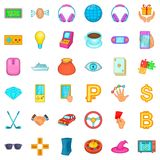 Currency icons set, cartoon style Royalty Free Stock Photo