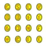 Currency icons set cartoon Royalty Free Stock Image