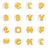 Currency icons set. In cartoon style. Money coin set collection vector illustration Royalty Free Stock Photos