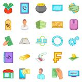Currency icons set, cartoon style. Currency icons set. Cartoon set of 25 currency vector icons for web isolated on white background Royalty Free Stock Image