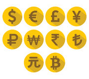 Currency Icons Set. Flat design with long shadow. Stock Images