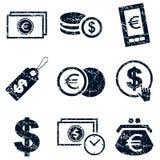 Currency icons set, grunge. Currency icons set grunge, black, on white background Stock Images