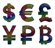 Currency Icons Set. Hand drawn Illustration with rainbow texture Stock Image
