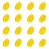 Currency icons set, isometric 3d style Royalty Free Stock Photo