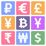 Currency icons set. Currency sign vector icons set. Money currency icons Royalty Free Stock Images